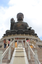 Making the climb up 268 stairs to get to the Buddha