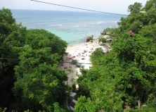 View of the beach from the bridge